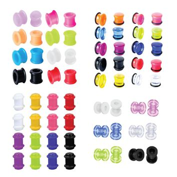 BodyJ4You Plugs Kit Gauges Acrylic Ear Stretching Single Double Flare Screw Fit 6G Jewelry Set 64 Pieces