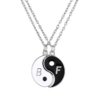 Charming Jewelry Accessories Yin And Yang Two Stitching Pendant Necklace Color Sivler Best Friend Gift