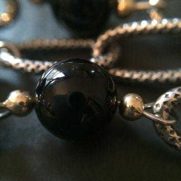 Sterling Onyx and Gold Bracelet