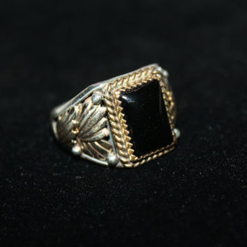Size 12- Vintage Men's Ring Onyx Sterling Silver and 12k Gold- free ship US