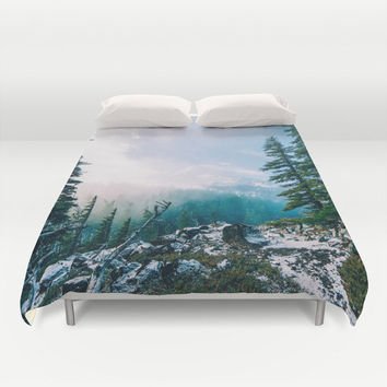 Duvet Cover, Tree Mountain Forest Wilderness Nature Bedding Cover, Decorative Bedroom Decor, Home Decor, King, Queen, Full