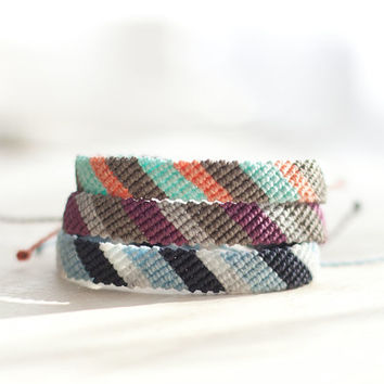 Color Block Flat Braid Friendship Bracelet
