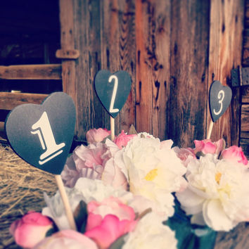 Chalkboard Table Number Hearts Wood Heart Chalkboard Wedding Table Number Picks Chalkboard Wedding Numbers Rustic Wedding Table Numbers