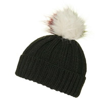 Multi-Coloured Pom Beanie Hat
