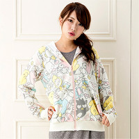 Buy Sanrio Pastel Mixed Characters Zip-Up All-Over Print Jacket with Hood at ARTBOX