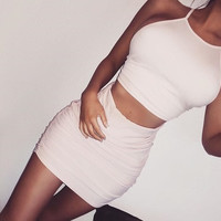 Women Stomach Revealing Sexy Backless Halter Neck Solid With Skirt Dress Two Piece Set a11039