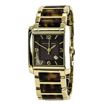 Michael Kors MK4242 Women's Brown Dial Gold Tone & Tortoise Shell Acrylic Bracelet Watch