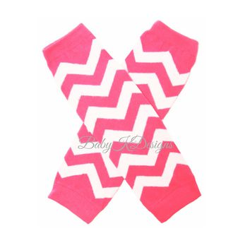 Hot Pink n White Chevron Stripe NO Ruffle Legwarmers. Baby Boy / Girl Knit Leg Warmers.Striped Footless Sock Soccer Dance