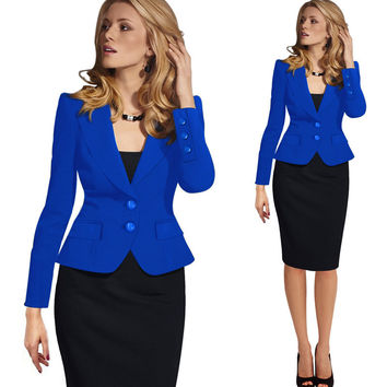 Hot Blazer Feminino Plus Size Women Blazers And Jackets Slim Fit Suit Blazer Office Lady Blazer black Coat White Blaser Mulheres