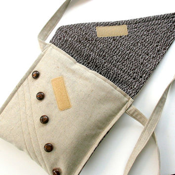 Cross Body Purse, Quilted Neutral Beige and Brown