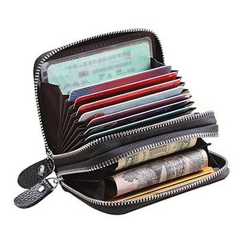 YOMYM Unisex Credit Card Holder Wallet RFID Blocking Wallet Business Cards Driver License Leather Double Zipper Small Purse