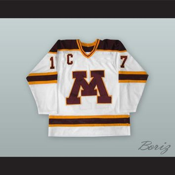 Larry Olimb 17 University of Minnesota Golden Gophers White Hockey Jersey