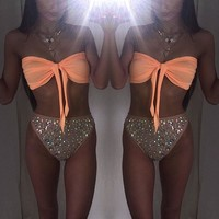 Fashion Solid Color Sequin strapless Bikini Set Swimsuit Swimwear