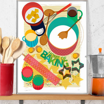 Baking Kitchen Print Limited Edition Signed Numbered Illustration