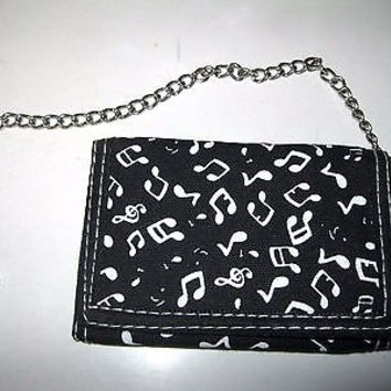 "Black with white musical notes Wallet Unisex Men's 4.5"" x 3"" W-New in Package!v2"