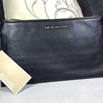 New Michael Kors Bedford Large Black Leather Zip Clutch Wristlet Wallet Gold