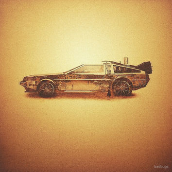 'Lost in the Wild Wild West! (Golden Delorean Doubleexposure Art)' by badbugs