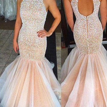 2016 New Hot Sexy Mermaid Prom Dresses Beaded Halter Prom Party Gowns Charming Prom Dress Sleeveless Long  Amazing Prom PArty