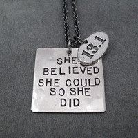 SHE BELIEVED She Could So She Did with Pewter Oval 13.1 or 26.2 Necklace - Gunmetal Chain - Marathon or Half Marathon Charm - First Marathon