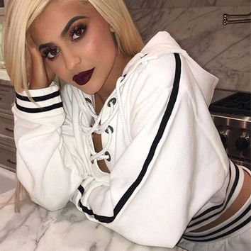 Front Bust Open Cross Lace Up Striped Edge Hooded Sexy Crop Sweatshirts,Winter Short Jumper Tracksuits Ringer Hoodie Cropped