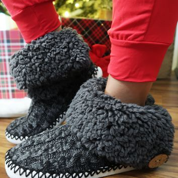 Night Before Christmas Slippers: Charcoal
