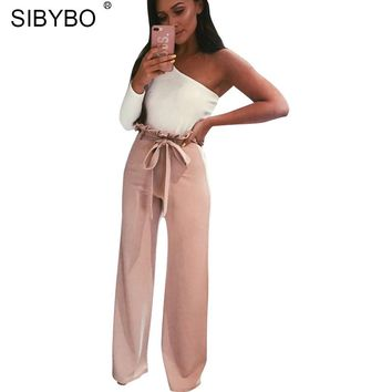Sibybo High Waist Drawstring Loose Casual Pants Women Autumn New Sashes Straight Elegant Women Pants Party Cotton Trousers Women