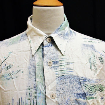 Vintage 80s Shirt Crazy Pattern Hipster Fashion Print XL