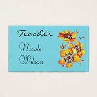 Bright Watercolor Orange Flowers for Teachers Business Card