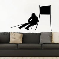Downhill Skiing Wall Decal Vinyl Stickers Decals Home Decor Skier Snow Freestyle Jumping Extreme Sports Winter Nursery Bedroom Dorm ZX113