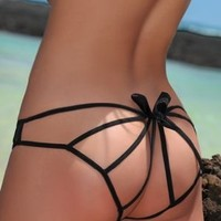 Passion Chicca Bella Black Ribbon Tie Panties