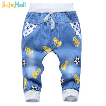 New Fashion Kids Jeans Elastic Waist Straight Cartoon Jeans Denim Seventh Pants Retail Boy Jeans For Kids 2-5 Y WB141