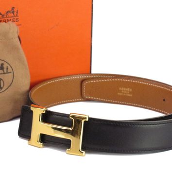 Auth HERMES H Buckle Belt Size:70 Leather Gold-tone Black Brown 18579802