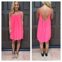 Salmon Low Back Chiffon Melody Dress