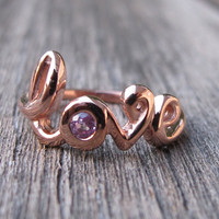 Pink Sapphire Rings- Love Rings- Promise Rings- September Birthstone Rings- Stone Rings- Gemstone Rings- Rose Gold Ring- Ruby Ring