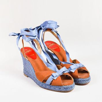 KUYOU Christian Louboutin Blue Cognac Canvas Bow Strappy Espadrille Wedges