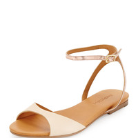 Candice Metallic Ankle-Strap Sandal, Nude/Ivory/Rose Gold - See by Chloe