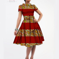 African Dashiki Batik Print Party Dress