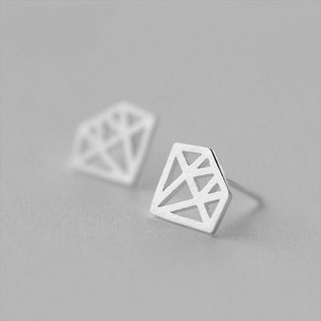 Silver Diamond Stud Earrings, Sterling Silver Diamond Earrings,geometric earrings,Gift for her,Diamond jewelry,geometric jewelry