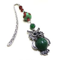 Green Owl Bookmark, Beaded Bookmark, Green and Red Bookmark, Metal Bookmark, Silver Bookmark, Student Gift, Teachers Gift, Booklovers, Owls