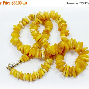 Vintage Russian Amber Beaded Necklace From Butter to Butterscotch Smooth Beads Graduated Size 21 Inches Long Lobster Clasp