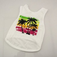 Summer Pet Dog Clothes Coconut Tree Dog T-shirt Vest Clothing for Small Dogs Size Xs