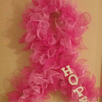 Breast cancer awareness wreath- October wreath- pink wreath-hope wreath