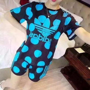 """Adidas"" Women Sport Casual Multicolor Letter Polka Dots Print Short Sleeve Shorts Set"