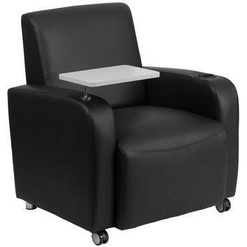 Flash Furniture Black Leather Guest Chair with Tablet Arm, Front Wheel Casters and Cup Holder [BT-8217-BK-CS-GG]