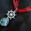 "Nautical ""Love"" Fried Blue Green Marble Red Ribbon Necklace"