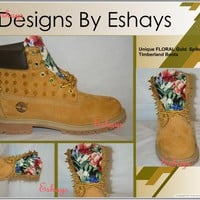 Gold Spiked Asian Floral Timberland Boots