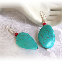 Red and Turquoise  Wave Dangle Earrings, Turquoise Earrings Bridal Wedding Jewelry Bridal Dangle Earrings Bridesmaid Jewelry