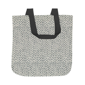 Hand Knit Grey Tote Bag