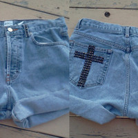 High Wasted Studded Calvin Klein Cross Shorts
