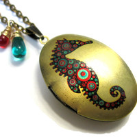 Seahorse Locket Red and Teal Oval Handpainted Brass Locket Hippocampus with Czech Glass Drops 14K Gold Wire